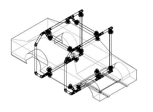 カーベキューを組み立てたイメージ/image of assembled rotisserie frame